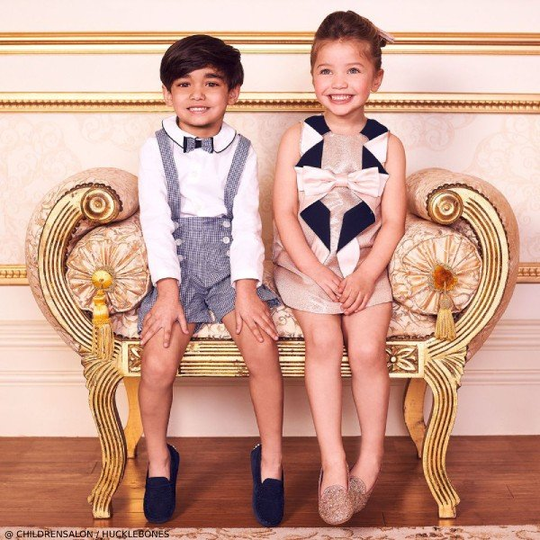 Hucklebones London Girls Rose Gold Origami Bow Dress & Patachou Boys 2 Piece Short Suit