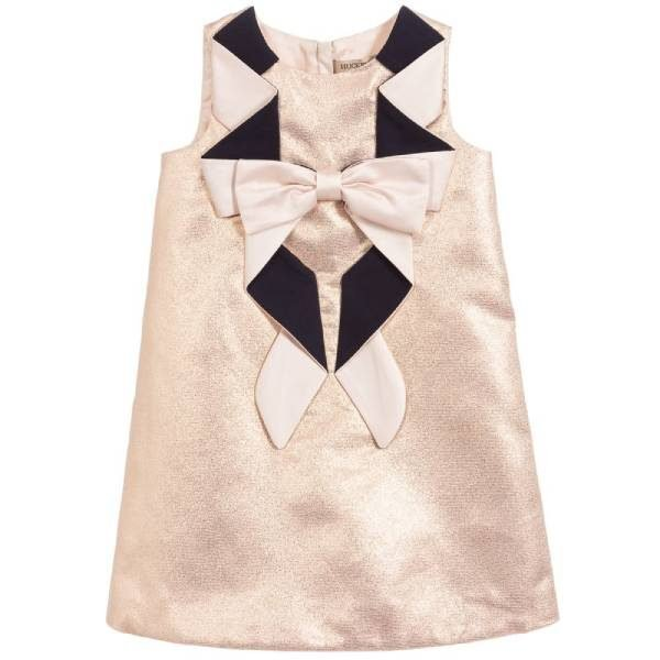 Hucklebones London Rose Gold Origami Bow Dress