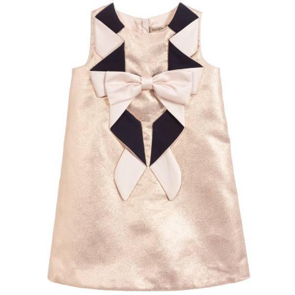 Hucklebones London Rose Gold Origami Bow Dress