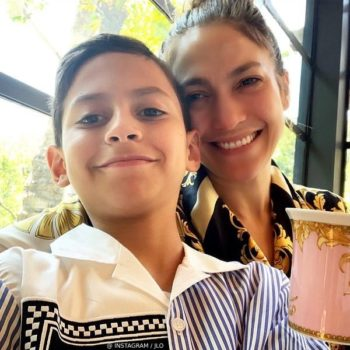 Jennifer Lopez Son Max Muniz Mother Day 2019 Young Versace Boys Blue Stripe Logo Button Down Shirt