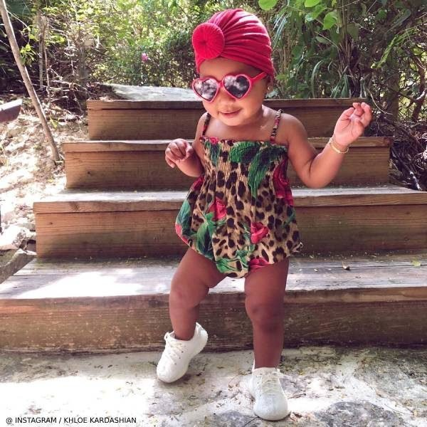 Khloe Kardashian Daughter True Thompson Dolce & Gabbana Baby Girls Leopard Roses Shortie