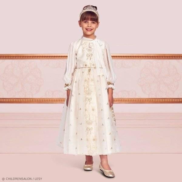 Lesy Girls EID Ivory & Gold Party Dress