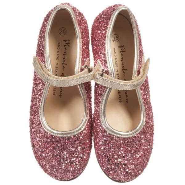 Manuela de Juan Girls Pink Glitter Shoes