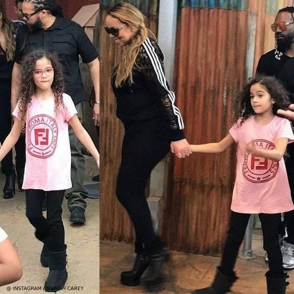 Mariah Carey's Daughter Monroe Cannon - Fendi Pink Logo T-Shirt