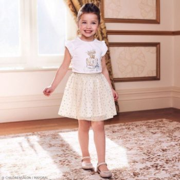 Mayoral Girls EID Ivory Queen T-Shirt Gold Polkadot Tutu Skirt