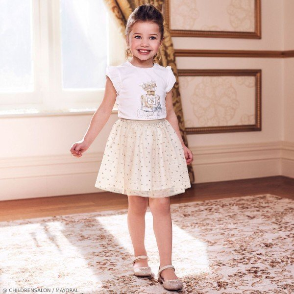 Mayoral Girls Ivory Queen T-Shirt & Gold Polkadot Tutu Skirt