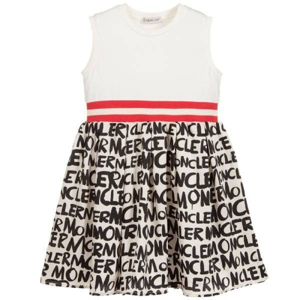 Moncler Enfant Girls Ivory Logo Dress