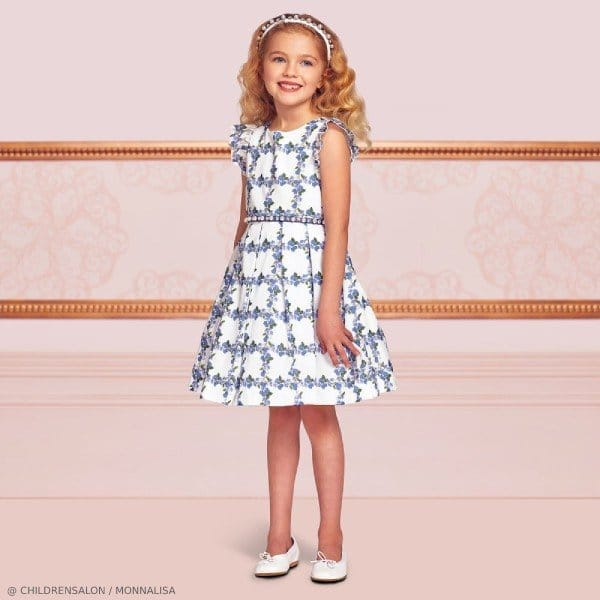 Monnalisa Chic Girls EID Blue Floral Cotton Party Dress