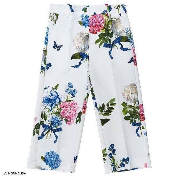Monnalisa Chic White Floral Girls Pants