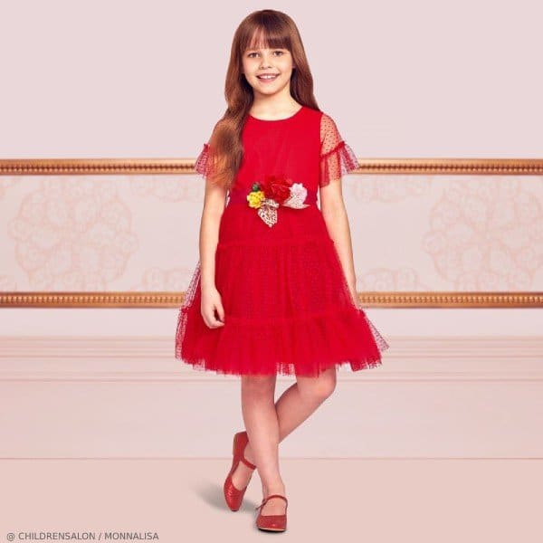 Monnalisa Girls Red Tulle Party Dress
