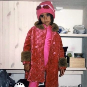 Penelope Disick Gucci Girls Pink GG Velvet Coat Kourtney Kardashian Finland Birthday Trip