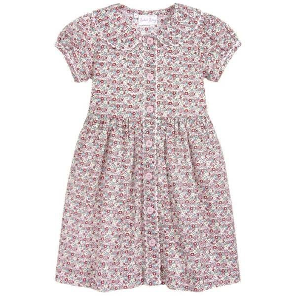 Rachel Riley Girls Red Floral Cotton Dress