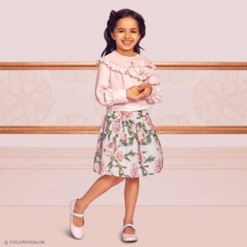 Tamarine Girl EID Pink Crepe Chiffon Blouse Patachou Floral Print Skirt