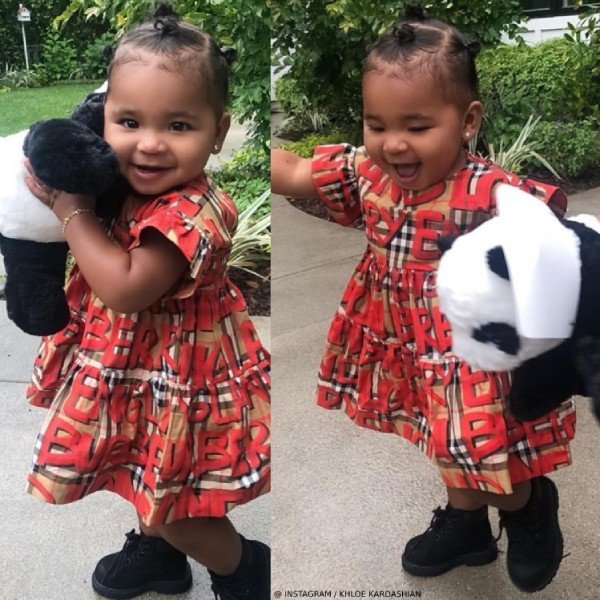 True Thompson Burberry Baby Girl Amy Mini Me Vintage Check Graffiti Dress