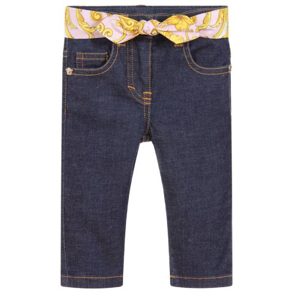 Young Versace Baby Girls Blue Jeans