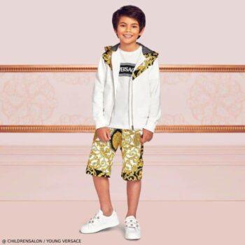 Young Versace Boys EID White BAROCCO Hooded Sweatshirt & Shorts