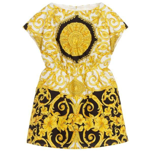 Young Versace Girls Baroque Cotton Dress