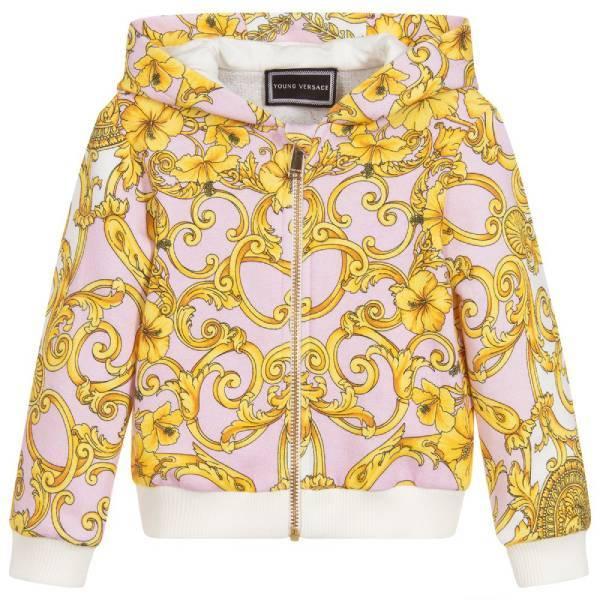 Young Versace Girls Baroque Cotton Hoodie