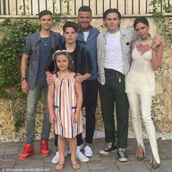 Beckham Family Vacation Miami - Harper Beckham Bonpoint Stripe Dress