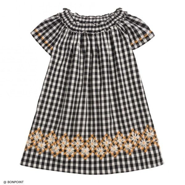 Bonpoint Goldie Black Gingham Check Dress