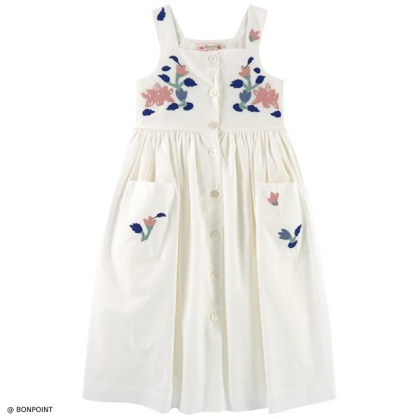 Bonpoint Laly Milk White Embroidered Dress