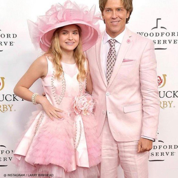 Dannielynn Birkhead - Junona Pink Satin Roses & Pearls Party Dress