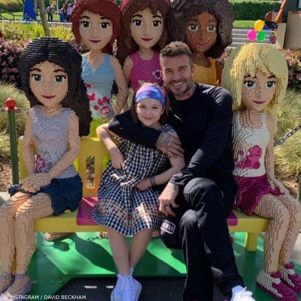 David and Harper Beckham Lego Land San Diego Bonpoint Goldie Black Gingham Check Dress