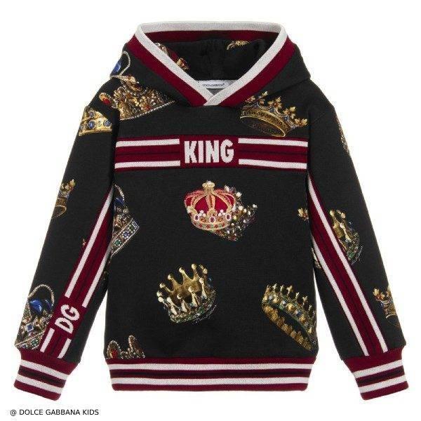 Dolce & Gabbana Boys Black King Sweatshirt with Hood