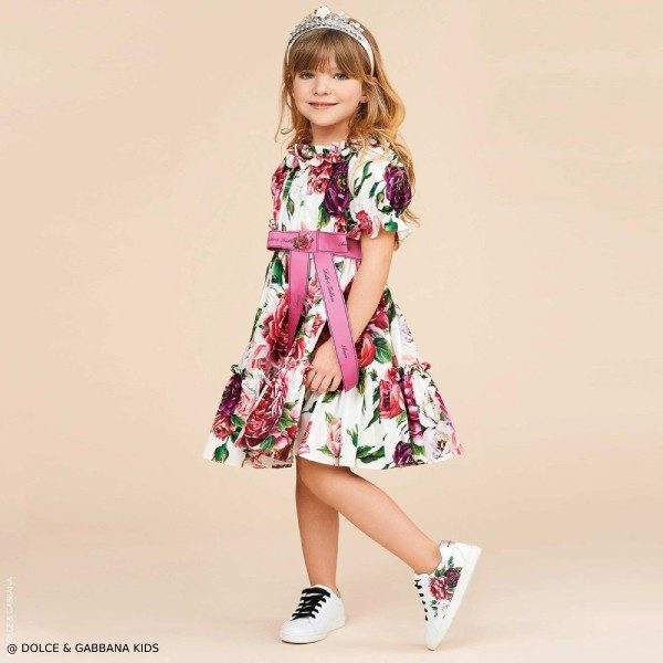 Dolce & Gabbana Girls Floral Cotton Dress