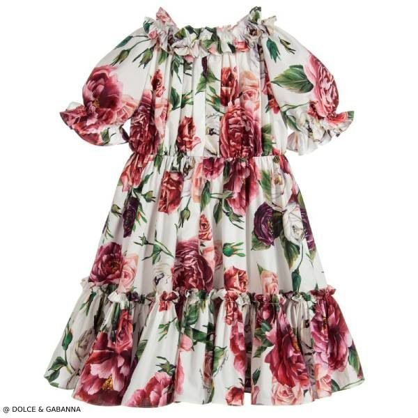 Dolce & Gabbana Girls Mini Me Floral Cotton Dress