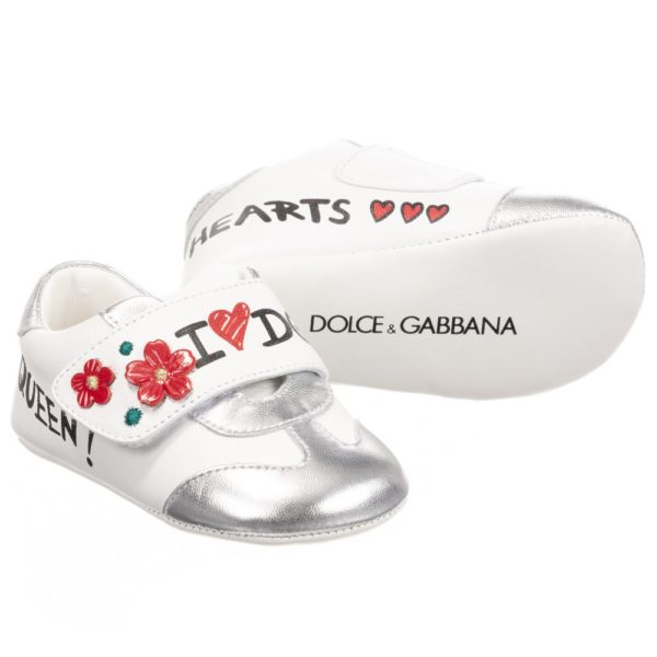 Dolce & Gabbana I Love DG White Leather Pre-Walker Shoes