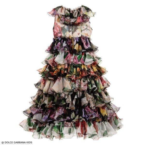 Dolce & Gabbana Long Floral Silk Chiffon Dress