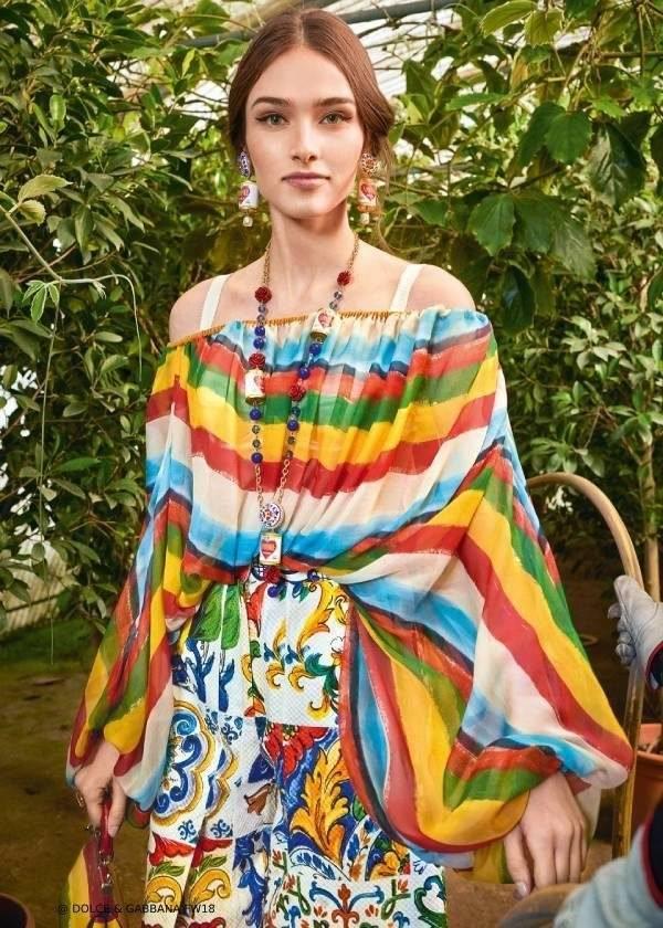 Dolce Gabbana Womens FW19 I Love Majolica Riga Pittorica Stripe Collection