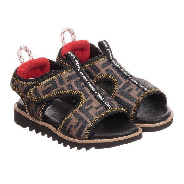 Fendi Boys Brown Logo Sandals