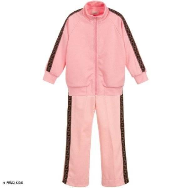 Fendi Girl Pink FF LOGO ZIP-UP TRACKSUIT