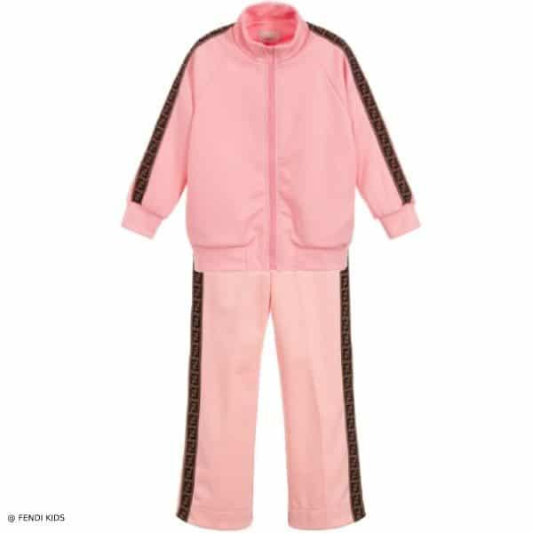 9a141f0a4c7491 Jessica Simpson's Daughter Maxwell - Fendi Girls Pink FF LOGO ZIP-UP ...
