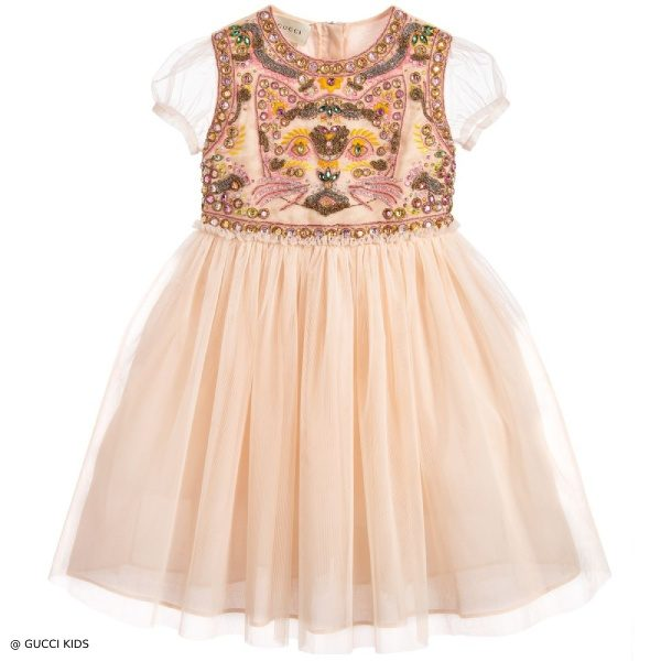 GUCCI Girls Mini Me Apricot Tulle Cat Dress