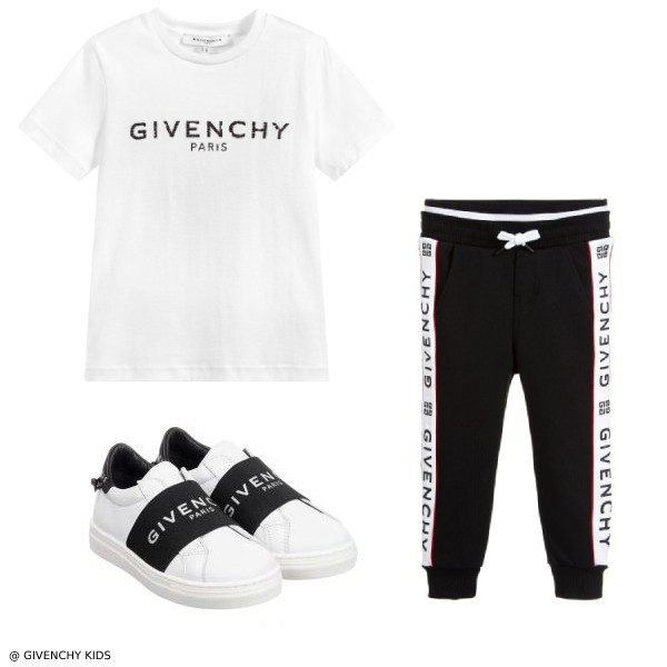 Givenchy Boys White Logo Shirt & Black Jogger Pants