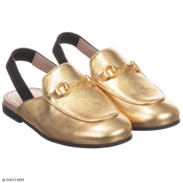 Gucci Girls Gold Metallic Princetown Leather Slipper Shoes