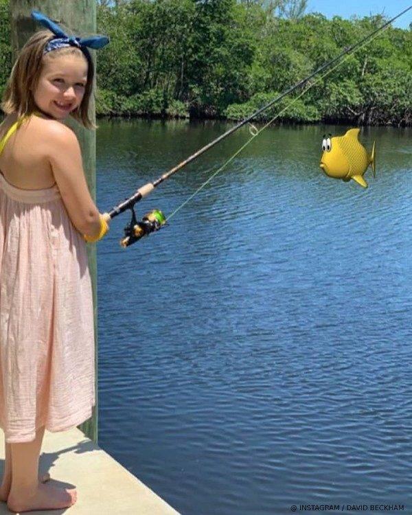 Harper Beckham Fishing in Miami June 2019 Stella McCartney Kids Pink Banana Print Dress