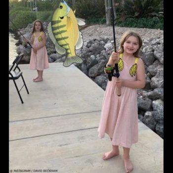 Harper Beckham Miami June 2019 Stella McCartney Kids Pink Banana Dress