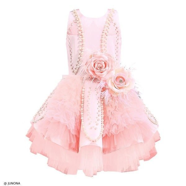 Junona Pink Satin Roses & Pearls Party Dress