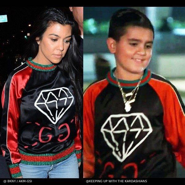 Kourtney Kardashian Mason Disck Gucci Ghost Diamon Blue Red Silk Shirt
