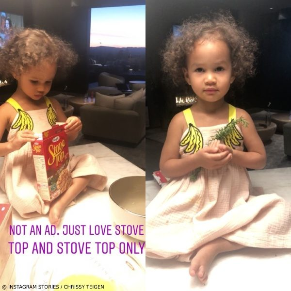 Luna Stephens Cooking with Chrissy Teigen Stella McCartney Pink Banana Dress