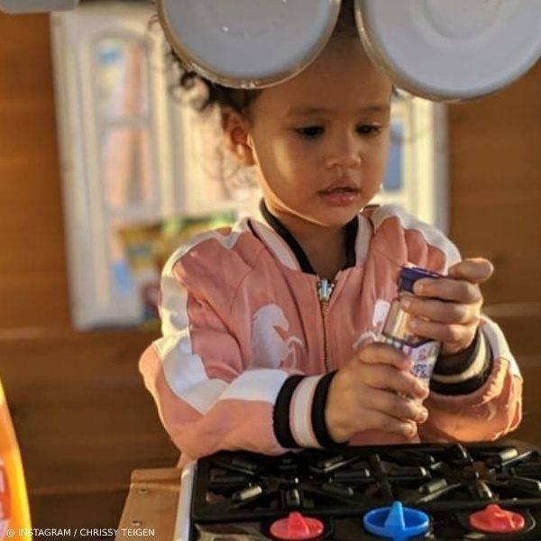 Luna Stephens Daughter Chrissy Teigen John Legend Chloe Reversible Pink Horse Satin Jacket