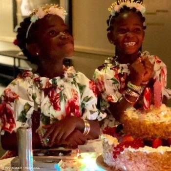 Madonna Twins Esther and Stella 6th Birthday Mini-Me Roseto Floral Print Dress