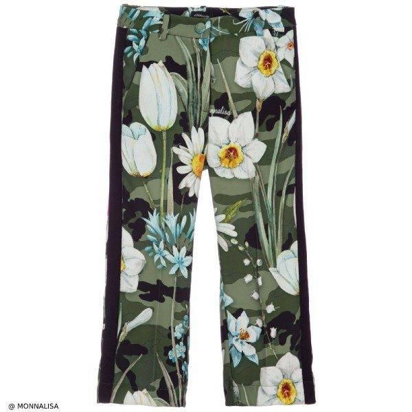 Monnalisa Girls Green Floral Culotte Pants