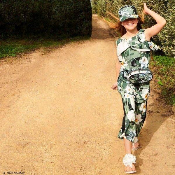 Monnalisa Girls Green Floral Culotte Shirt Hat