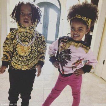 Offset Son Kody Daughter Kalea Young Versace Baroque Gold Black Hooded Sweatshirt