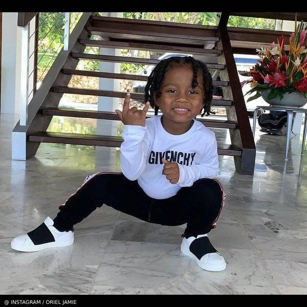 Offset Son Kody Givenchy White Logo Shirt Black Jogger Pants
